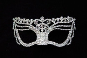 Mysterious Laser Cut Venetian Princess Swan Crown Design Masquerade Mask for Mardi Gras Or Halloween - Decorated with Gem Crystals