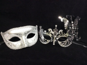 His & Hers Masquerade Couples Venetian Design Masks - 2 Piece Silver Coloured Set - Perfect Couple Mardi Gras Extravagant Butterfly Party Halloween Ball Prom