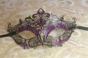 Mysterious Black w/ Purple Gem and Glitter Laser Cut Slim Venetian Swan Design Masquerade Mask for Mardi Gras Or Halloween