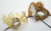 Roman Greek God and Sun Goddess Set - His & Hers Elegant Phantom Masquerade Masks [Antique Gold Themed] - New Year's Eve, Mardi Gras Theatre