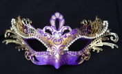 Masquerade Laser-cut Purple/Gold Venetian Mask
