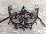 Grand Swan Venetian Impression Design Masquerade Mask Decorated with Beautiful Red Gems- Black