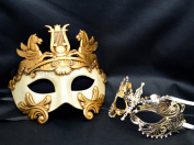 New Couple Lover Mask Gold Hercules + Gold Extravagant Mardi Gras Venetian Halloween Ball Prom Masquerade Mask