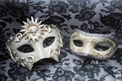 Luxury Collection Matching White/Silver Venetian Half Face Masquerade Ball Mask for Men and Women