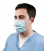 Grafco 3816 Face Mask With Earloop - LIGHT BLUE Latex-Free 100/bx