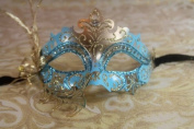 Mysterious Baby Blue and Gold Laser Cut Venetian Swan w/ Side Flower Design Masquerade Mask for Mardi Gras Or Halloween
