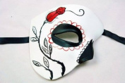 """""""Day of The Dead"""" - Halloween Venetian Impression Mask White and Black w/ Red Rose"""