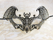Mysterious Black Laser Cut Venetian Bat Wings Design Masquerade Mask for Mardi Gras Or Halloween - Decorated with Sparkling Gem Crystals