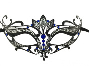Black Majestic Metal Laser Cut Venetian Mardi Gras Masquerade Mask with Blue Diamond