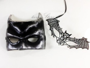 Halloween Mask Set - Batman Costume Masquerade Masks - Bestselling Batman Mask with Laser Cut Bat Woman Masquerade Mask w/ Diamonds
