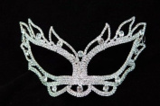Mysterious White Laser Cut Venetian Swan Eyes Impression Masquerade Mask for Mardi Gras Or Halloween - Decorated with Gem Crystals