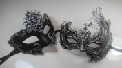 Masquerade Couples Venetian Impression Masks - 2 Piece Black Coloured Set