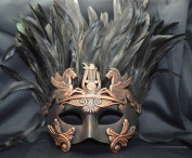 NEW Mens Mythological Bronze/black Feather Hercules Greek Style Party Mask Mens Mythological Greek Style Party Mask Mardi Gras Party Halloween Ball Prom