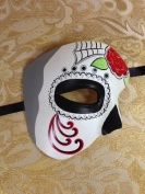 Day of The Dead - Masquerade Venetian Impression Mask for Mardi Gras or Halloween - Red Rose