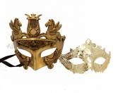 His & Hers Masquerade Couples Venetian Design Masks - 2 Piece Gold Coloured Set - Warrior Greek Roman Mardi Gras Party Halloween Luxury Ball Prom