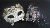 Masquerade Couples Venetian Impression Elegantly Design Masks - 2 Piece Silver Coloured Set