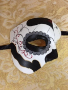 Day of The Dead - Masquerade Venetian Impression Mask for Mardi Gras or Halloween - Black and Grey