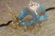 Luxury Fallen Angel Gold/sky Blue Classic Filigree Metal Laser Cut Venetian Masquerade Mask New!