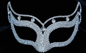 Mysterious White Laser Cut Venetian Crown Design Masquerade Mask for Mardi Gras Or Halloween - Decorated with Sparkling Gem Crystals