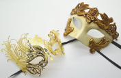 Roman Greek God and Luxury Goddess Set - His & Hers Masquerade Masks [Antique Gold Themed] - New Year's Eve, Mardi Gras Theatre