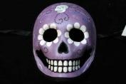 """Day of The Dead"" - Halloween Venetian Impression Mask Purple Skull Design"