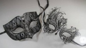 Masquerade Couples Venetian Elegant Design Impression Masks - 2 Piece Black Coloured Set