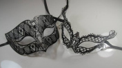 Masquerade Couples Venetian Elegant Impression Designed Masks - 2 Piece Black Coloured Set