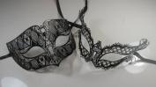 Masquerade Couples Venetian Elegant Impression Designed Masks - 2 Piece Black Coloured Set