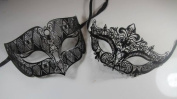 Masquerade Couples Venetian Elegant Impression Masks - 2 Piece Black Coloured Set