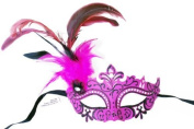 Pink Glitter Mardi Gras Masquerade Costume Eye Mask w/ Feathers and Rhinstones