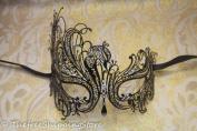 Black Swan Metal Filigree Laser Cut Venetian Masquerade Mask w/ Rhinestones