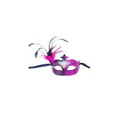 Classic Pink Glitter Venetian Masquerade Mask W/printed Flowers & Feathers