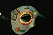 """Day of The Dead"" - Halloween Venetian Impression Mask Grey Half Phantom Design"
