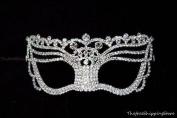 Goddess Wedding Bridal Venetian Masquerade Mask Covered w/Genuine Crystals