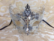 Grand Swan Venetian Impression Design Masquerade Mask Decorated with Beautiful Gems- Metallic