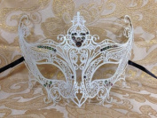 Grand Swan Venetian Impression Design Masquerade Mask Decorated with Beautiful Multi-Colour Gems- White