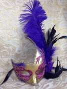 Grand Venetian Impression Purple and Gold Grand Swan Laser Cut Masquerade Mask - Decorated w/ Side Feather
