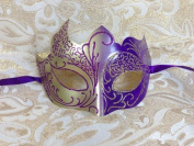 Grand Venetian Impression Purple and Gold Swan Laser Cut Masquerade Mask - Vibrantly Decorated with Gold and Purple Glitter