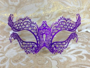 Grand Venetian Impression Purple Swan Metal Laser Cut Masquerade Mask