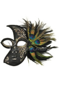 Half Silver Masquerade MardiGras Mask Peacock Feathers w/Acrylic Painted Swirls