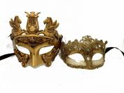 His & Hers Masquerade Couples Venetian Design Masks - 2 Piece Gold Coloured Set - Warrior Greek Roman Couple Mardi Gras Ivory Party Halloween Ball Prom