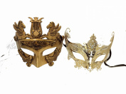 His & Hers Masquerade Couples Venetian Design Masks - 2 Piece Gold Coloured Set - Warrior Greek Roman Mardi Gras Party Halloween Queen Ball Prom