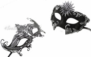 His & Hers Masquerade Couples Venetian Design Masks Sun God & Queen - 2 Piece Coloured Set - Perfect Couple Mardi Gras Majestic Party Halloween Ball Prom