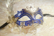 Luxury Fallen Angel Gold/blue Classic Filigree Metal Laser Cut Venetian Masquerade Mask New!
