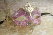 Luxury Fallen Angel Gold/pink Classic Filigree Metal Laser Cut Venetian Masquerade Mask New!