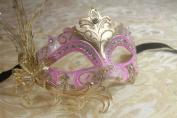 Luxury Fallen Angel Gold/pink Classic Filigree Metal Laser Cut Venetian Masquerade Mask New!