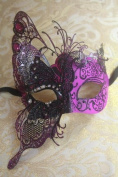 Magic Fairy Pink/black with Black Glitter Laser Cut Venetian Halloween Party Ball Prom Shows Masquerade Mask w/ Innovation Design