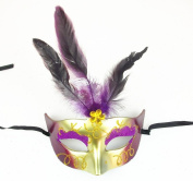 Mardi Gras Feather Masks with Sparkle Masquerade Masks
