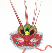 Masquerade Ball Mardi Gras Venetian Lace Mask with Three Peacock Feather Eyes
