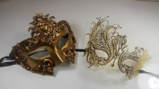 Masquerade Couples Venetian Elegant Design Masks - 2 Piece Gold Coloured Set
